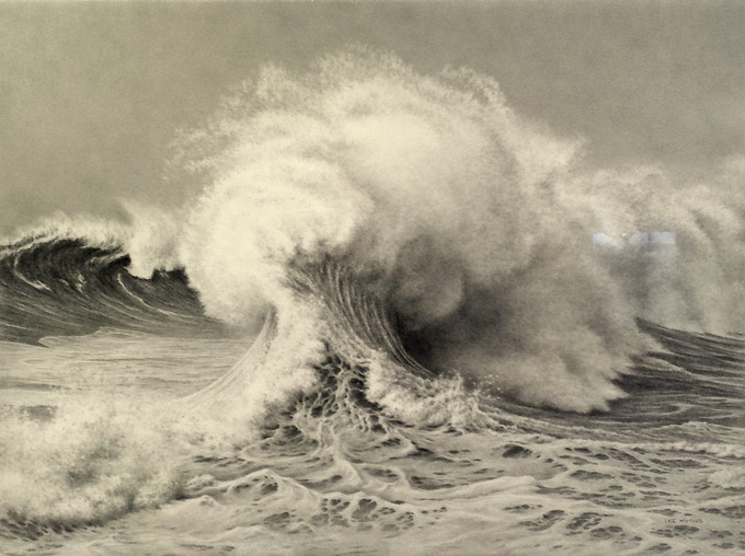 """Backwash Impact"", a 22"" by 30"" pencil drawing from 2015"