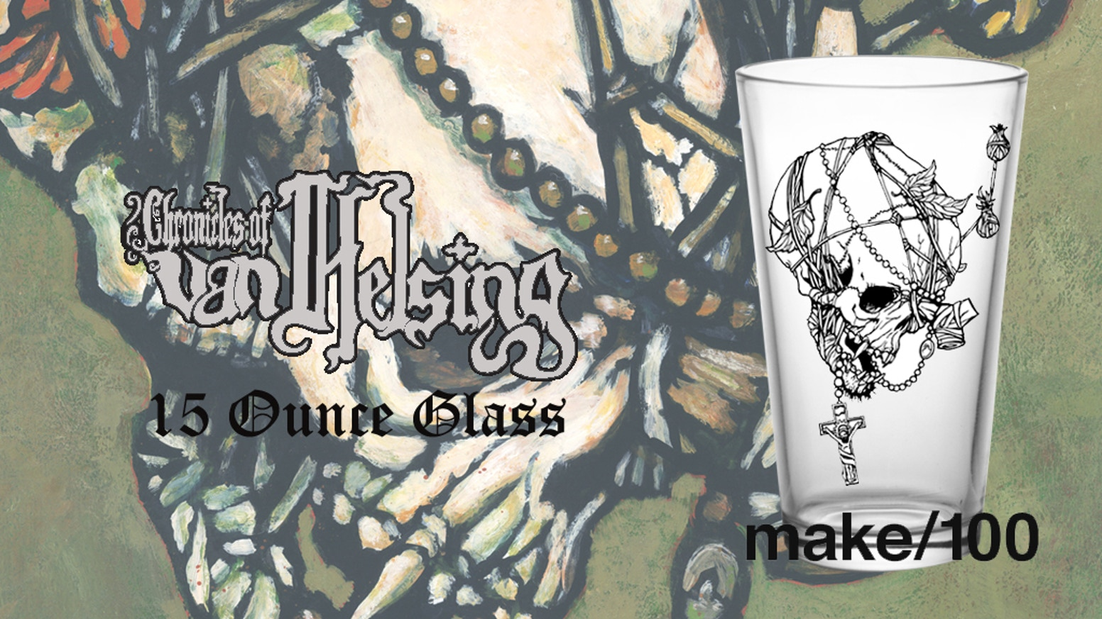 Chronicles of Van Helsing 15 Ounce Vampire Skull Glass.  Features a beautifully grotesque image illustrated by Tony Morgan.