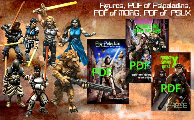 All 7 miniatures and PDF versions of all three rulebooks