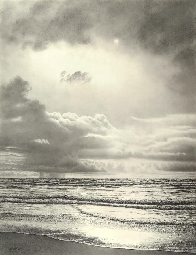 """Minor Squalls"", graphite pencil drawing, 34"" by 26"", 2015. The print version of this image is titled ""Distant Squalls""."