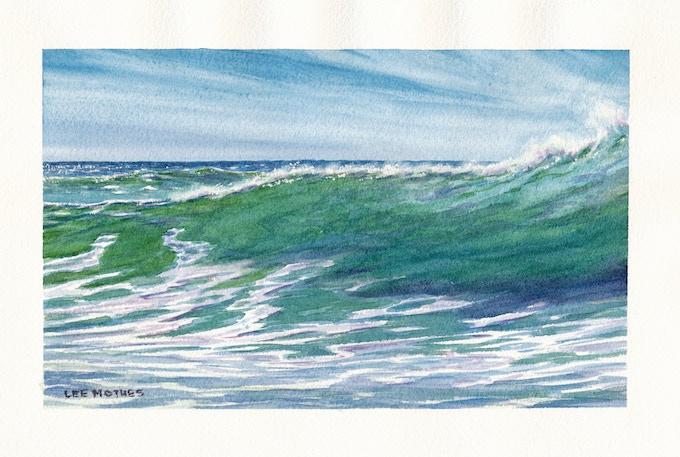 """Makaha Shorebreak"", 5"" by 8"" watercolor, 2017"