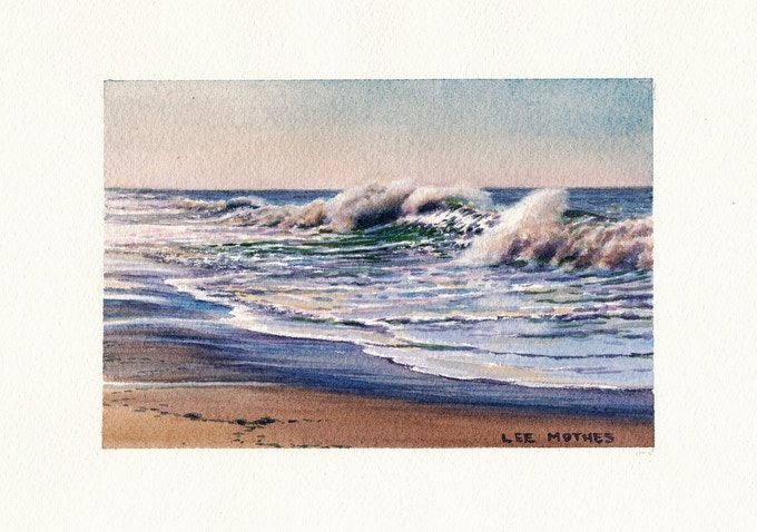 """""""Surfside Shorebreak"""", 4"""" by 6"""" watercolor, 2017"""