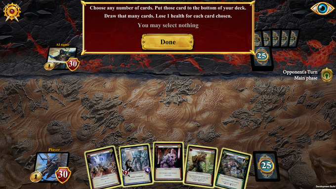 Before you first turn, you may muligan to improve your starting hand.