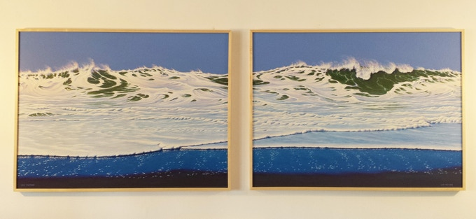 """The Spirit of Winter Surf"", acrylic on canvas, framed in maple, each 30"" by 40"", 2016 (30"" by 85"" together as shown)"