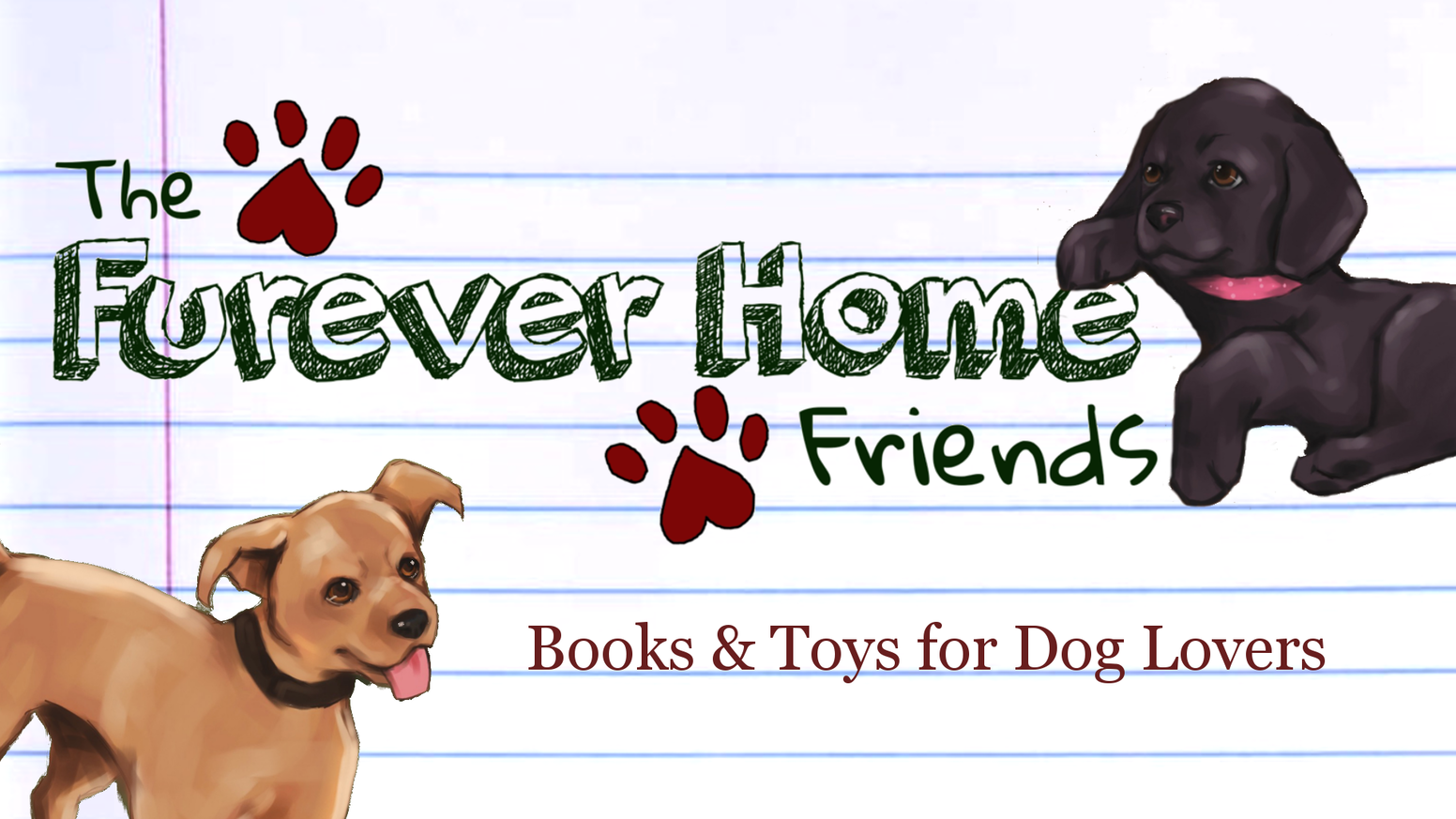 A collection of children's books and stuffed animals, based on real dogs who have gone through shelters.