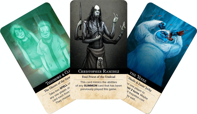 Summon cards of $500 tier backers from the NecronomiCards Vol 1 Kickstarter