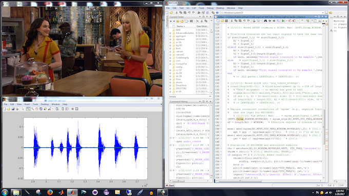 Screenshot of our software dynamically processing a show