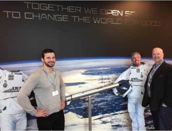 MoonWatcher Co-Founders Barret Schlegelmilch and Blair DeWitt at Virgin Galactic Headquarters in Long Beach, CA with Sir Richard Branson in absentia