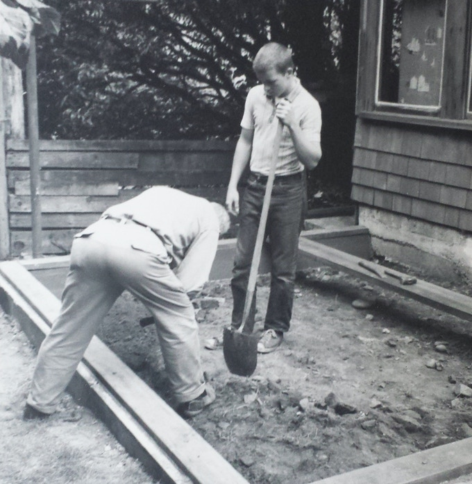At work on the foundation, June 1964. That's me holding the shovel.