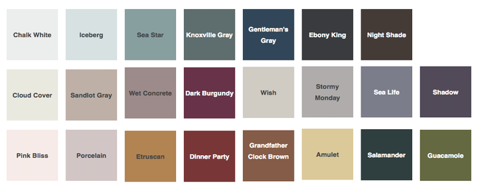 Selection of colours that will be used for this project
