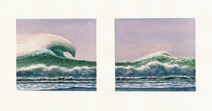 """Big One Rolling By"", 4"" by 10"" watercolor diptych, 2017"