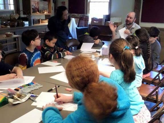 Jason Rodriguez leading a comic book workshop at the Concord Museum.