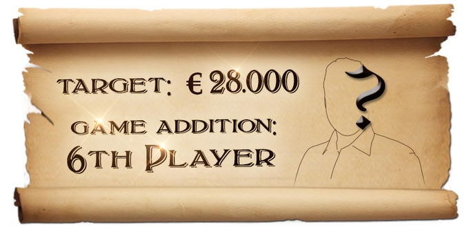 The third revealed Stretch Goal is the 6th player, about this we have to add some cards in the game.