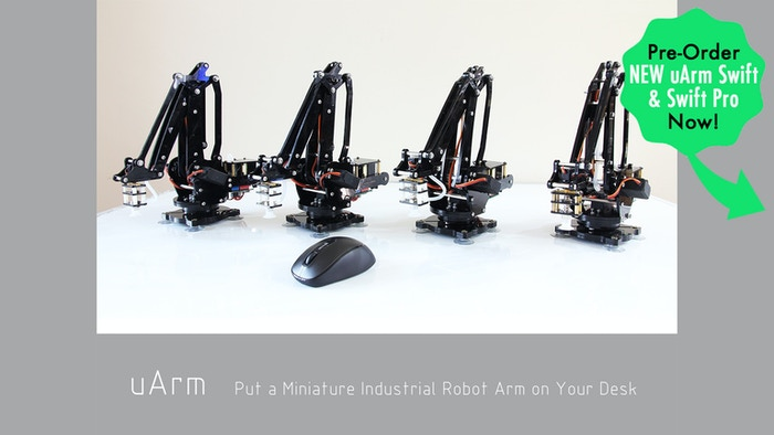 uArm is an Arduino-powered desktop 4-axis parallel-mechanism robot arm, modeled after the ABB industrial PalletPack robot.