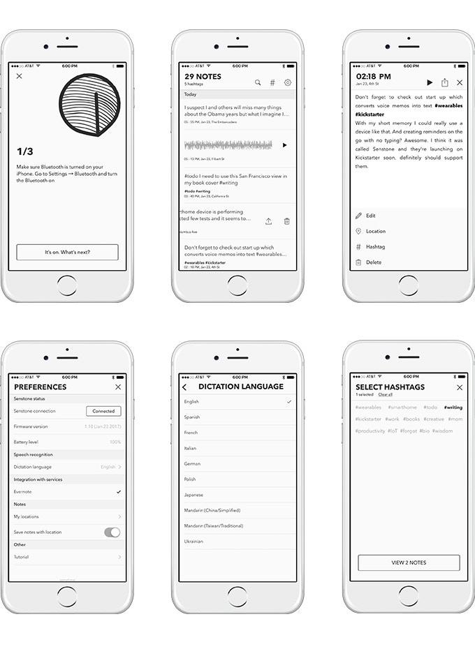App screens.