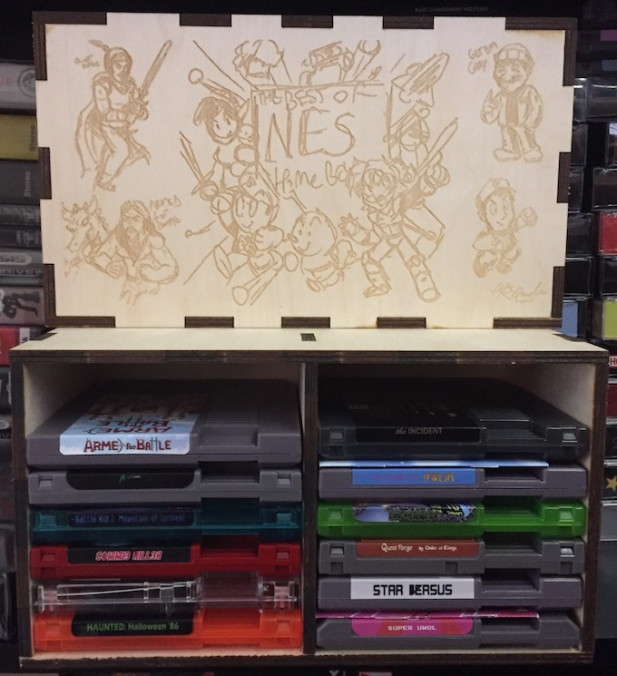 Prototype Box with Draft Art and Games. Plenty of Room for Manuals or even an bonus games!