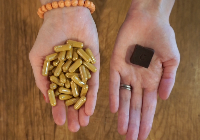 Each cube of Chocumin has the same amount of Active ingredient as 60 Turmeric Pills