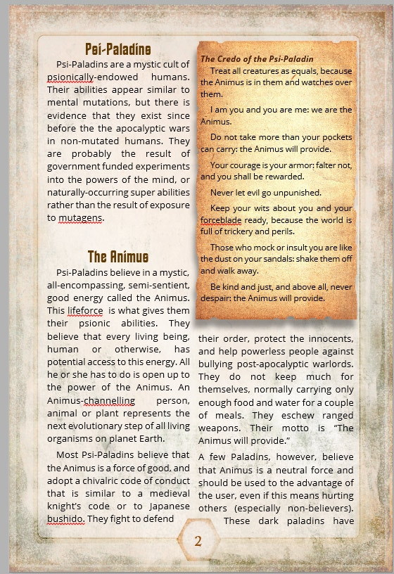 Sample Page from the Psi Paladin PDF
