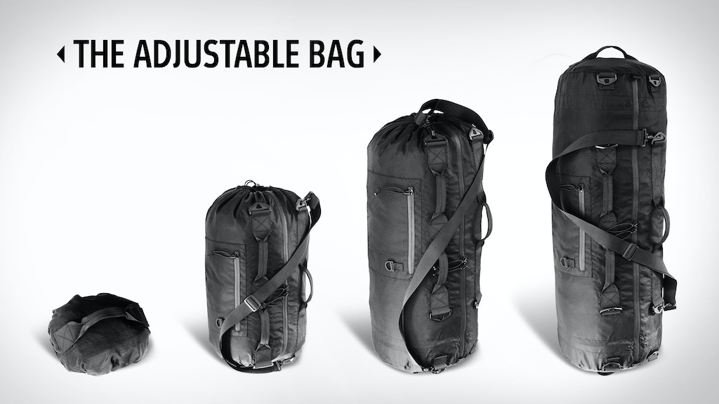 The Adjustable Bag is a multi-size, multi-function, collapsable bag. It's extreme versatility makes it the only bag you need.