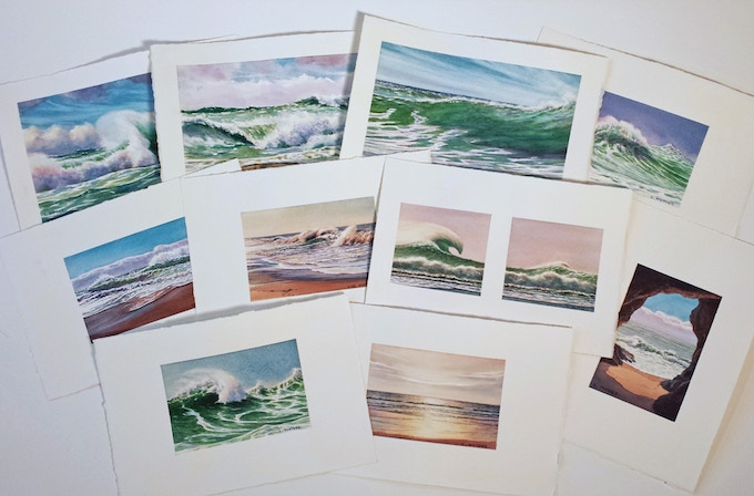 These ten original watercolors, painted on rag paper, are individually listed below.