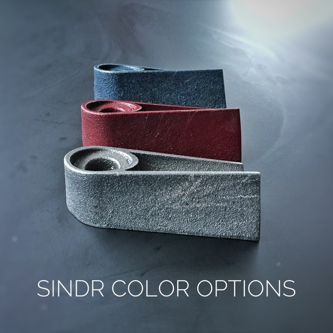 From top to bottom: Cerulean Blue, Regal Red, and Raw Cast Iron (every Sindr is coated in an anti-corrosive seal)