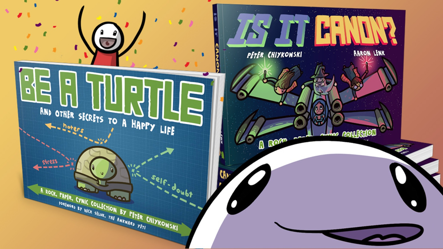 2 new books from Aurora Award-winner Rock, Paper, Cynic ft. comics about  being yourself, blood magic, pop culture, gaming and more!