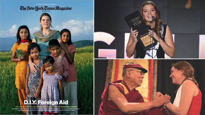Maggie Doyne on cover of NYT Magazine, CNN Hero of the year and being honored by Dalai Lama.