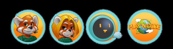 Stickers des personnages principaux et du logo Play'n'Code