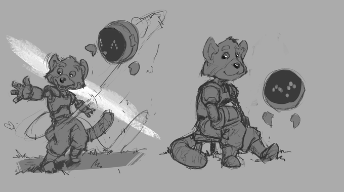 Dessin du panda roux, version garçon