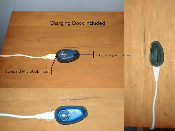 Kai's simple charging dock. It features durable charging pins and has standard Micro-USB input.