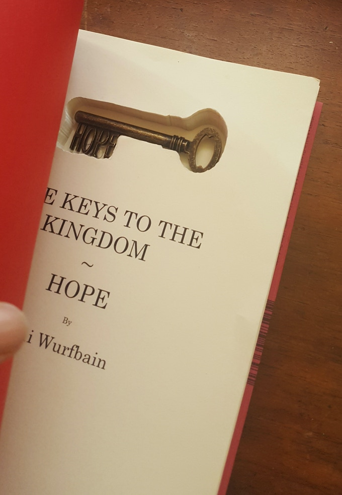 hope key, inside of the book