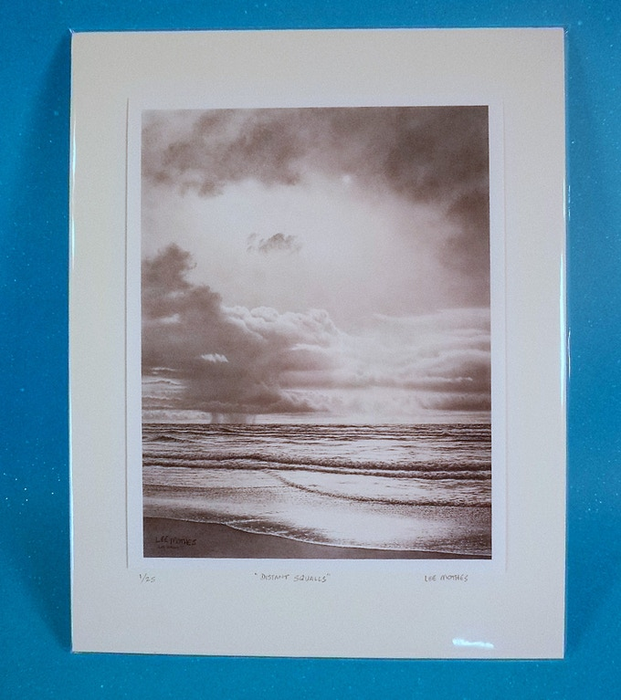 """Distant Squalls, 10"" by 8"" image mounted on ready-to-frame 14"" by 11"" backing"
