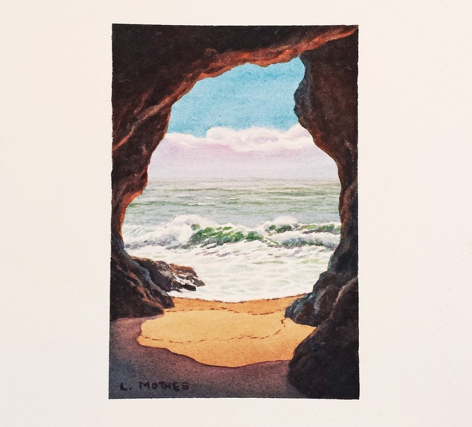 """View from the Sea Cave"", 6"" by 4"" watercolor, 2017"