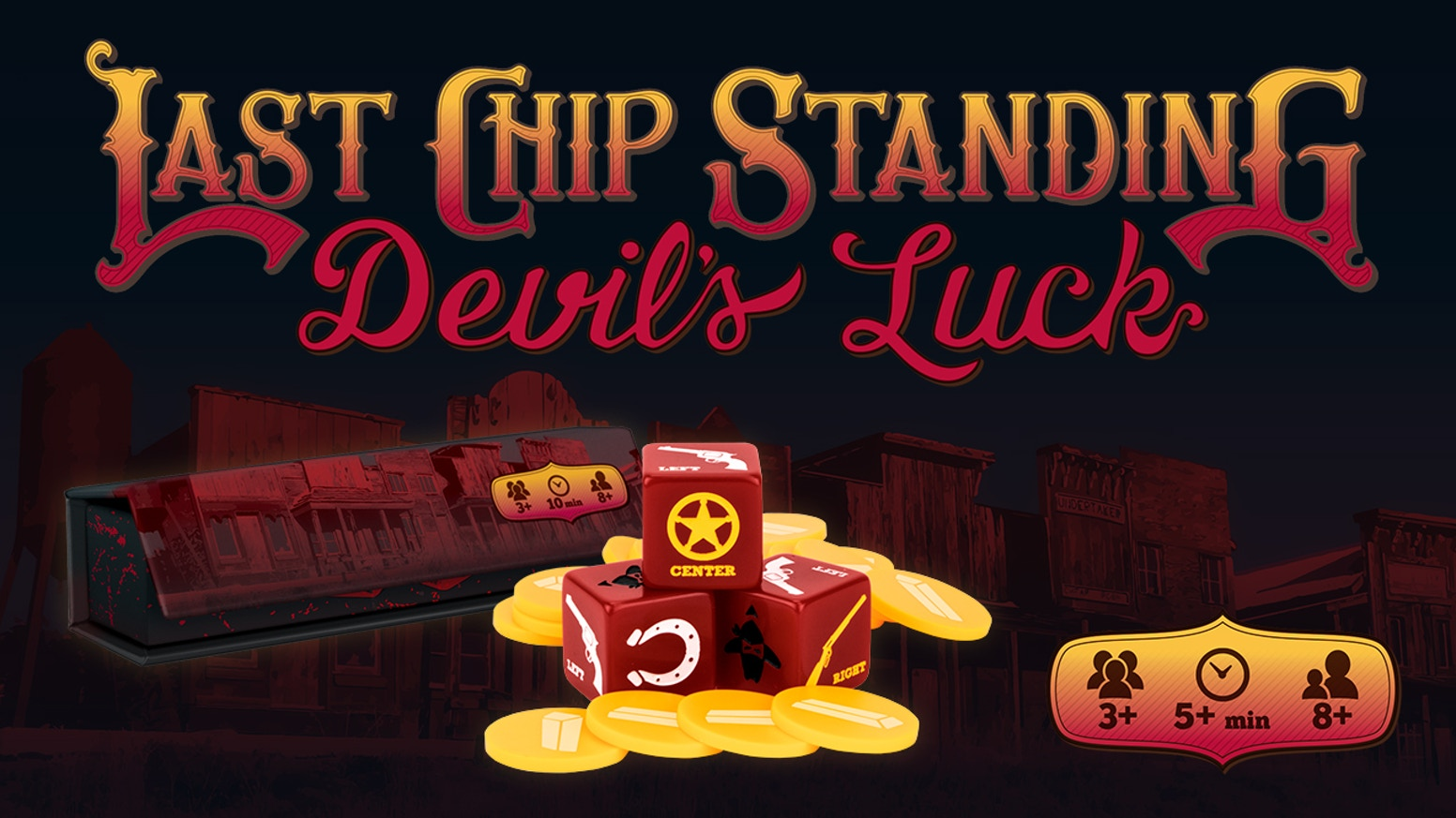 In this Wild Western game of chance, roll dice, pass and steal loot, and be the last outlaw with chips to win the whole pot.