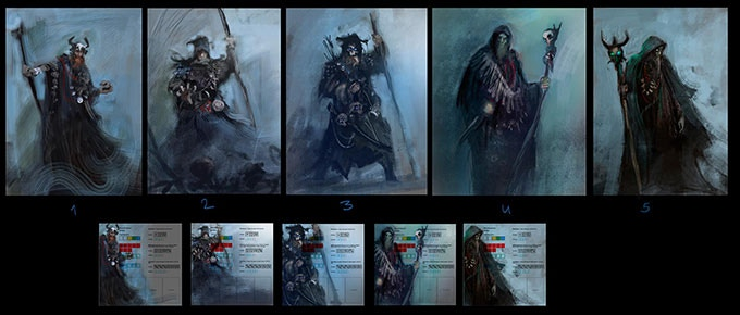 Initial concepts of the Necromancer.