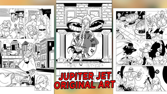 Three original art pages from Jupiter Jet!