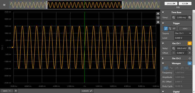 Demo Mode: Wavegen tied to the Oscilloscope