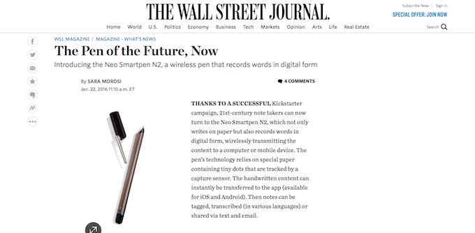 The Pen of the Future, Now - WSJ