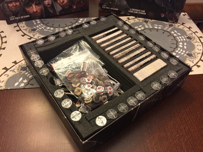 Dead of Winter base game components organized using our box insert
