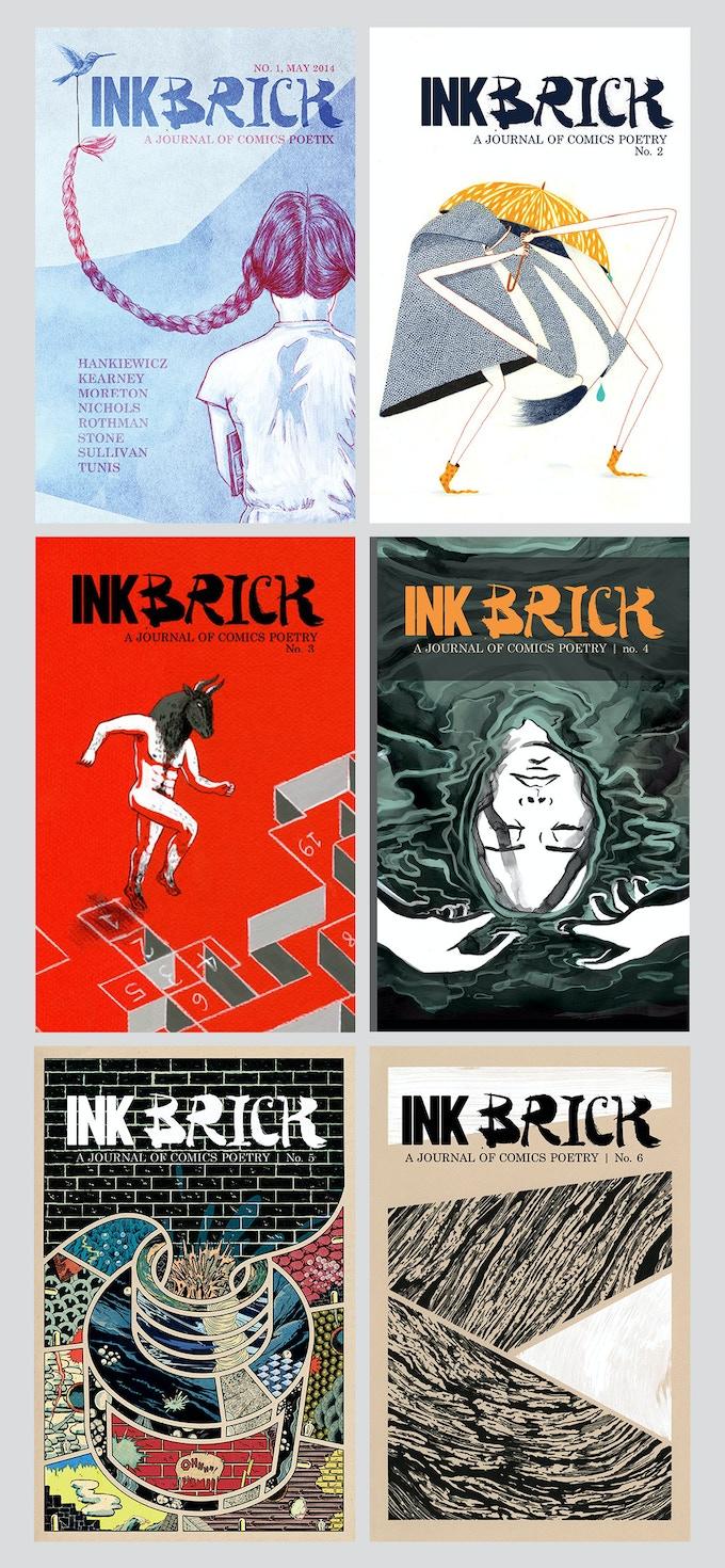 INK BRICK nos 1–6   covers by Paul K. Tunis, Keren Katz, Maëlle Doliveux, Matt Huynh, Samplerman, Ryan Tippery