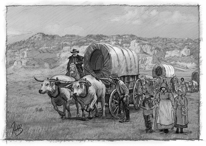 Graphite illustration for a museum exhibit of the Oregon Trail