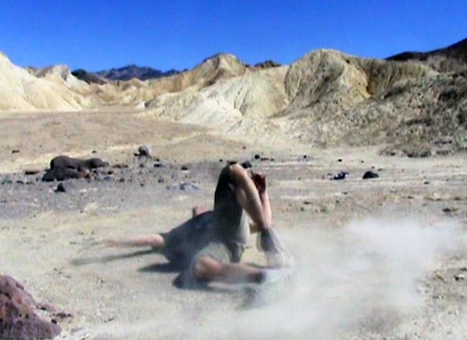 Film still of Matty dancing in Death Valley, CA.
