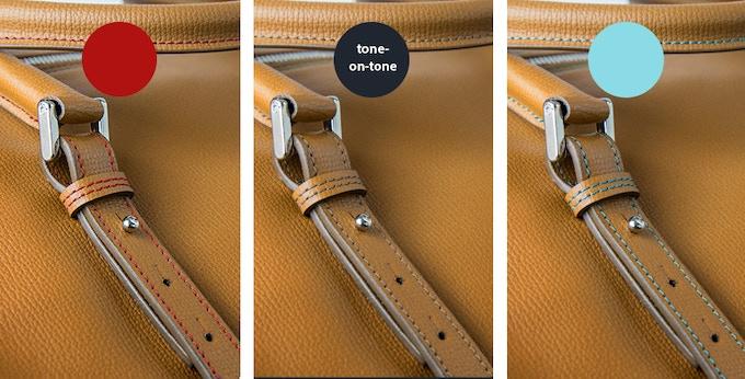 red / tone-on-tone / light blue - choose your fav seam