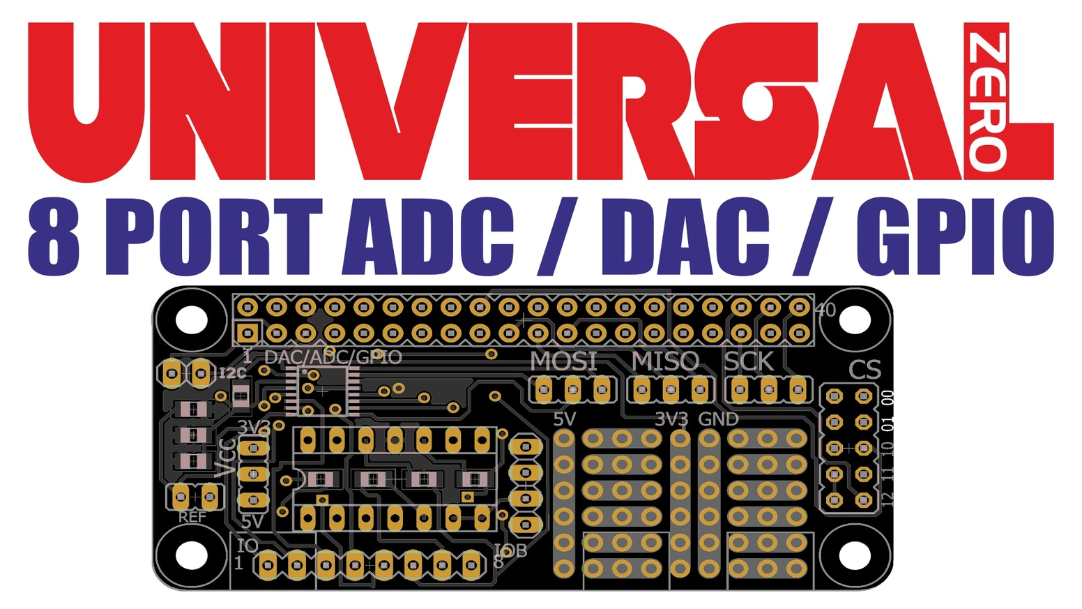 Universal Adc Dac Gpio For Raspberry Pi Phat 8 Ports By Piotr Shield Dummies Experimental Board Analog Digital Zero Pin Or Software Configurable All