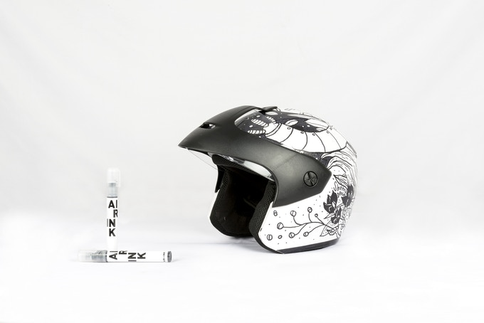 Helmet designed with AIR-INK round tip marker.