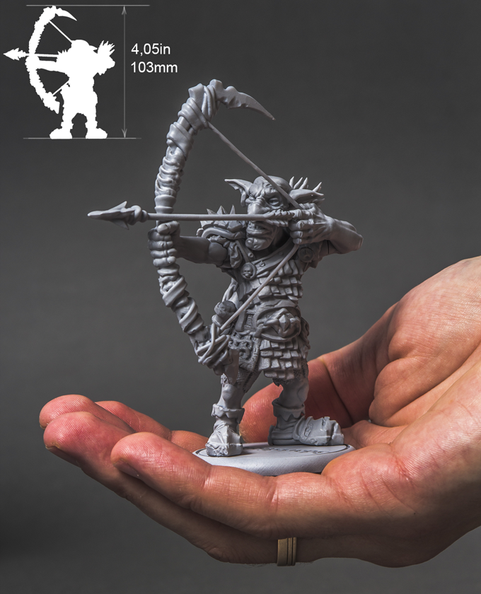 This is an actual 3D print model of the Goblin Archer. Printed at 50 micron. Every bit of surface is packed with fine detail.