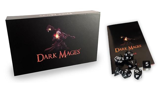Dark Mages (base game). Includes 120 Cards, Rulebook, RPG Dice Set & Velvet Bag (not shown)