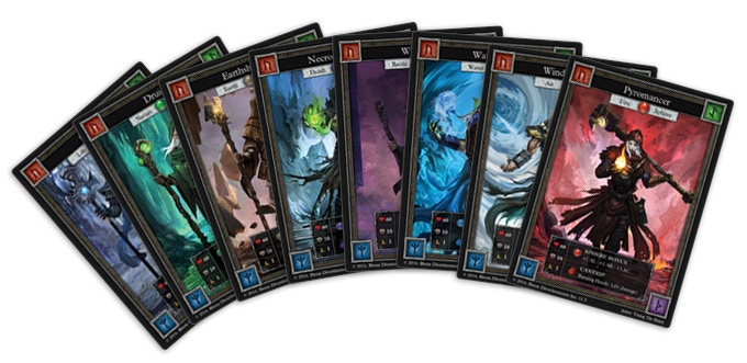 8 Character Cards - Each player is represented by a magician character card.