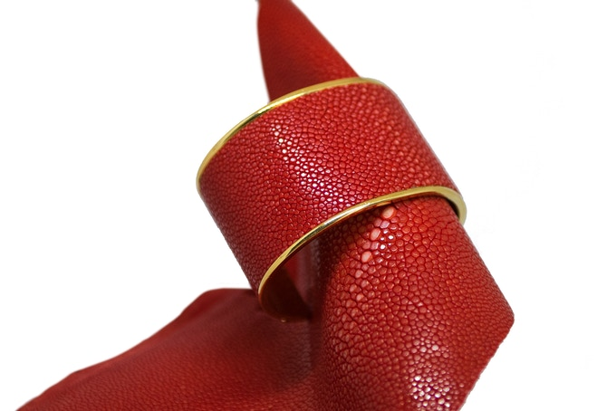 VALERIA - Gold & Red Leather