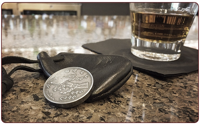 .999 silver Tempus Coin and 12 year old scotch